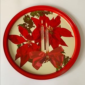 Vintage Poinsetta Christmas candle tray